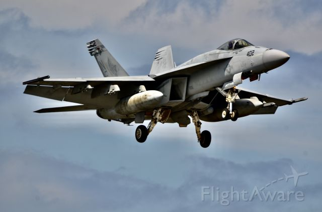 McDonnell Douglas FA-18 Hornet — - Low and slow ( and loud!) on final approach to Iwakuni.