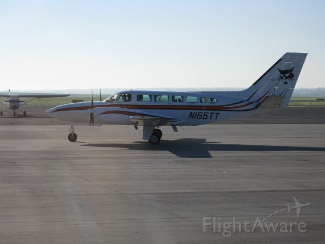 Cessna 404 Titan (N155TT) - A regular at Bismarck Municipal, 155TT is used to shuttle Bobcat executives and employees throughout North Dakota and the surrounding states.