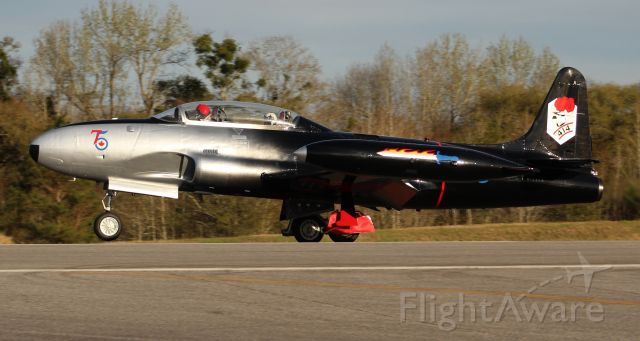 Lockheed T-33 Shooting Star (N133CN) - A Canadair CT-133 Silver Star departing Runway 1 in the late afternoon at Sonny Callahan Airport, Fairhope, AL - March 7, 2020 - during the Classic Jet Aircraft Association's 2020 Jet Blast.