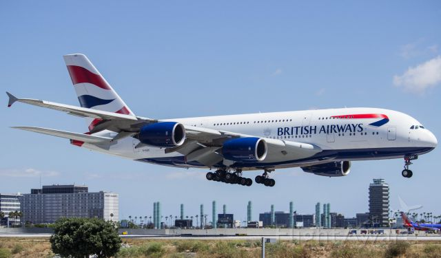 Airbus A380-800 (G-XLEC) - British a380 over 24R
