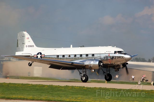 Douglas DC-3 (N47E) - The lovely Miss Virginia about to get airborne............<br />Saturday AirVenture Show