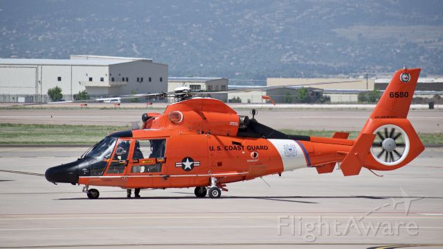 """VOUGHT SA-366 Panther 800 (N6580) - USCG Aerospatiale HH-65C """"Dolphin"""" about to lift off from the ramp at Colorado Springs Airport"""
