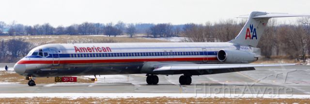McDonnell Douglas MD-83 (N7547A) - American 2232 is arriving from DFW at DSM on Runway 31 at 12:48 PM CDT. Photo taken with Nikon D3200 on March 17, 2018.