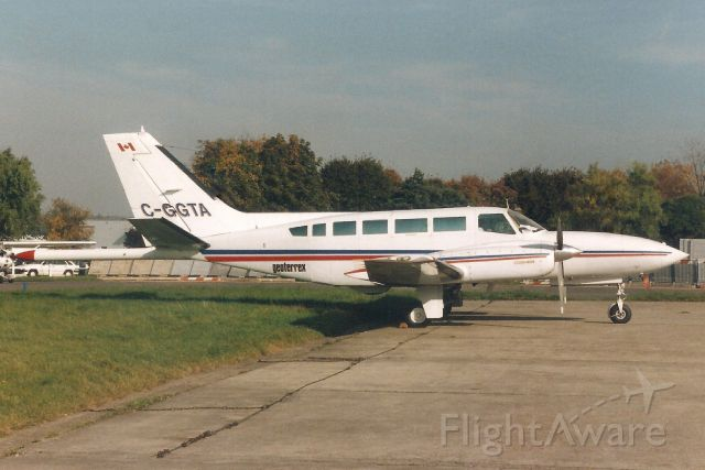 Cessna 404 Titan (C-GGTA) - Seen here on 17-Oct-94.<br /><br />Reregistered PT-WSY 9-Oct-00,<br />then N404EN 13-Apr-05,<br />then exported to Paraguay 29-May-15.