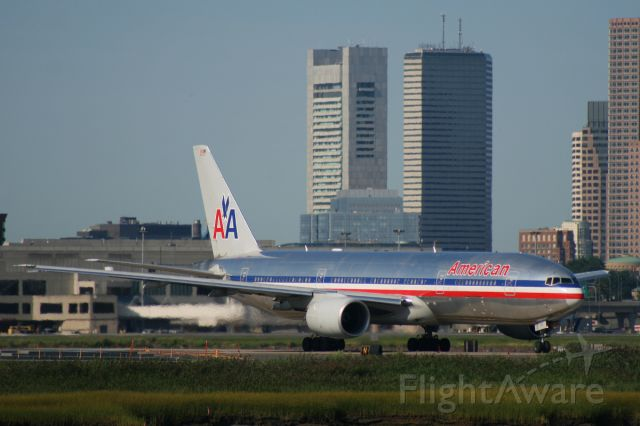 N768AA — - American 777 taxis on November to runway 22R for departure. Photo taken on August 23, 2008