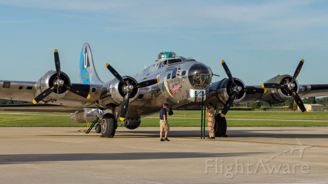Boeing B-17 Flying Fortress (N9323Z) - Sentimental Journey parked on the ramp at KPPO.
