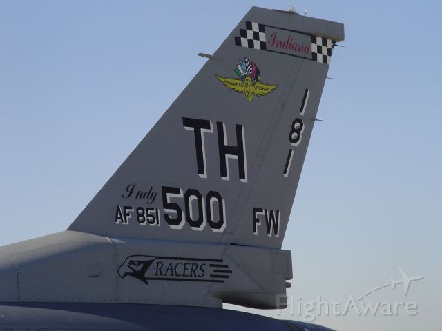 — — - F-16C of 181FW Indiana ANG.  The wing lost its fighters to BRAC not long after photo.