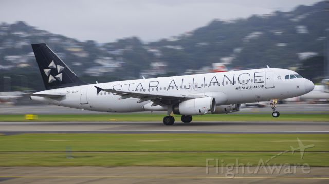 Airbus A320 (ZK-OJH) - ZK-OJH rotating off runway 16 at Wellington International!