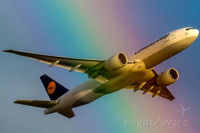 Boeing 777-200 (D-ALFA) - zoom in of my other pic. The Cargoliner is behind the rainbow, the engines are coloured in rainbow colours!!