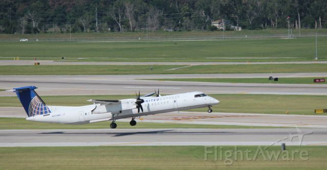 de Havilland Dash 8-400 (N204WQ) - 081415 rotating from Rwy 14R