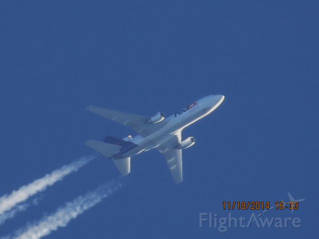 McDonnell Douglas DC-10 (N308FE) - FedEx flight 597 from MEM to SEA over Baxter Springs Kansas (78KS) at 34,000 feet.