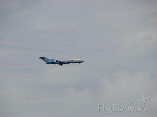 — — - 727 approaching Goma International Airport, DRC, over Lake Kivu