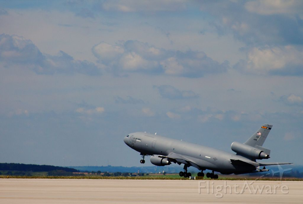 — — - McGuire KC-10 departing Spangdahlem Air Base, Germany.