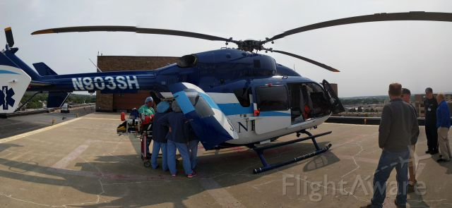KAWASAKI EC-145 (N903SH) - Taken on the roof of Sanford Medical Center in Bismarck, ND