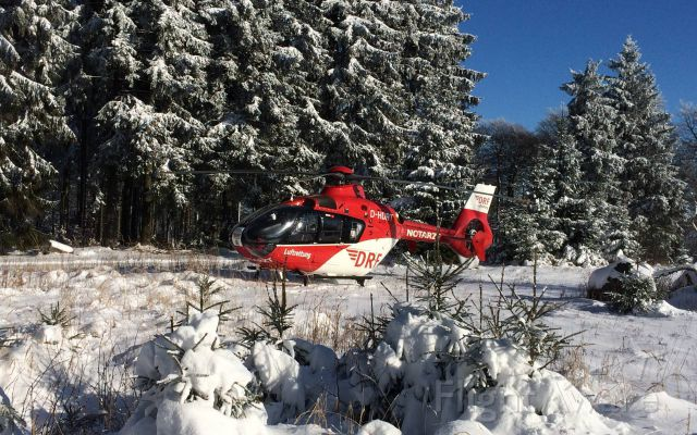 Eurocopter EC-635 (D-HDRT) - EC-H135 rescue helicopter , landing near the forest (DRF)<br />injured skier -