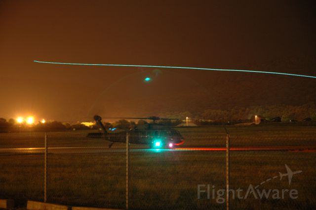 — — - Night time training at Fort Indiantown Gap, another helicopter flying by in background....