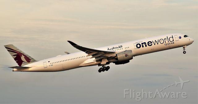 Airbus A350-900 (A7-ANE) - Qatar Airways (One World Livery) departs IAH Houston.