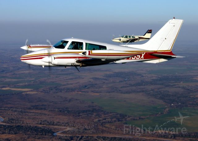 Cessna 310 (N5455X) - Flying In formation with David and Don Perry over Oklahoma.