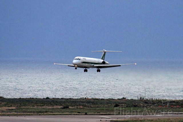 McDonnell Douglas MD-82 (I-DATI) - Alitalia MD82 (reg. I-DATI) landing at Palermo (PMO/LICJ) on rnw 07. Taken from the control tower with beautiful sea landscape.