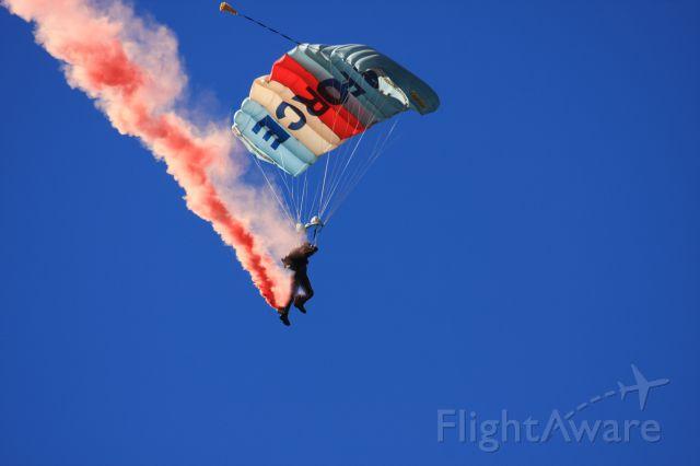 — — - Member of RNZAF parachute display team KIWI BLUE at Wanaka 2012