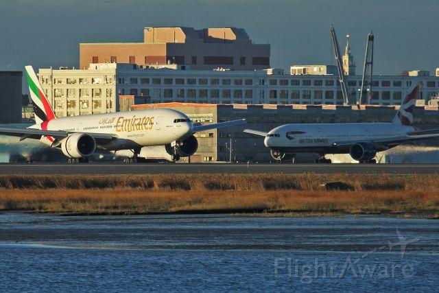 Boeing 777-200 (A6-EWG) - Emirates 239 heavy lands runway 4R, as Speedbird 29 golf holds on runway 9