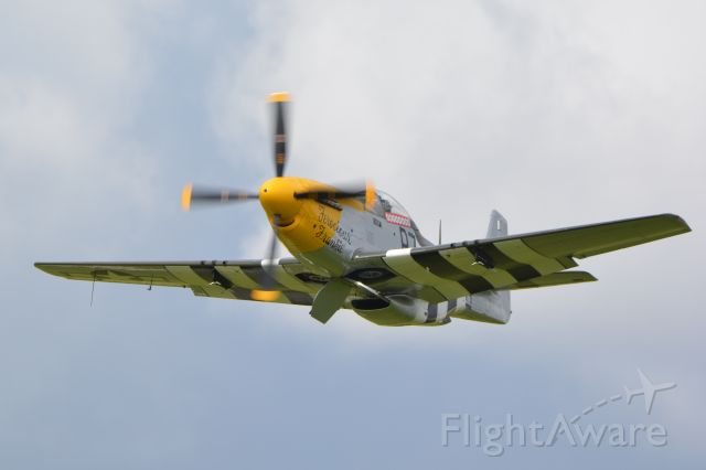 North American P-51 Mustang (G-BTCD) - P51D Mustang just after take-off, about to join Spitfire MH434 – both from the Old Flying Machine Company – in  a close formation display over Goodwood on 12 September 2015