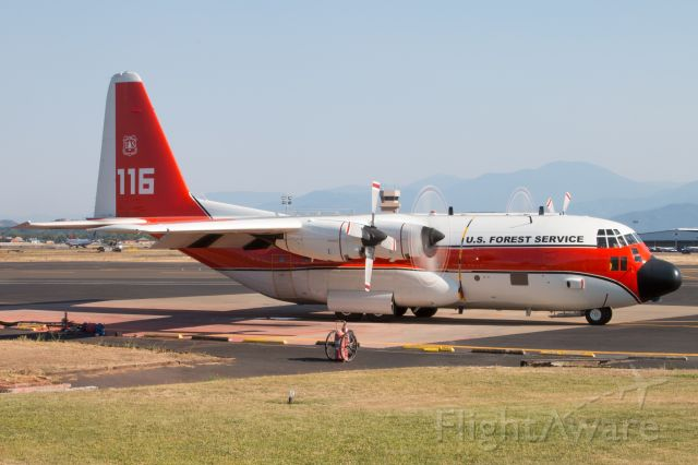 Lockheed C-130 Hercules — - Tanker 116 getting ready to taxi out of the Medford Air Tanker Base.