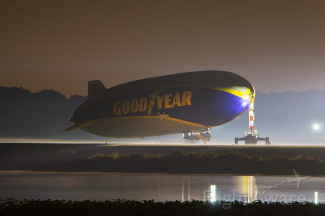 Unknown/Generic Airship (N1A) - The Florida based Wingfoot One is seen on a foggy night at Wingfoot Lake. The airship came to Goodyears Akron, Ohio base to escape Hurricane Irma.