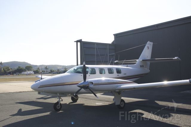 Cessna T303 Crusader (VH-TFA) - VH-TFA Parked at Hamilton Island after arriving from YBAF Archerfield in the morning.