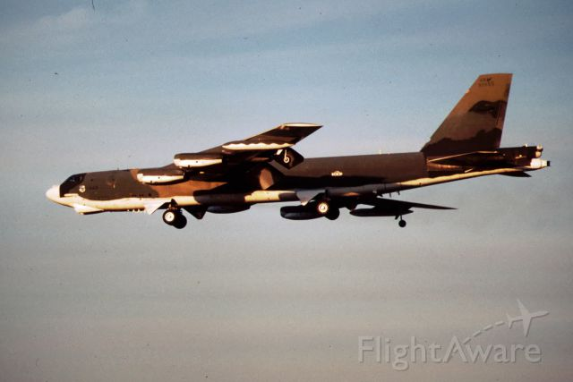 — — - B-52G at Castle AFB in SEP 1984. Made from 35mm slides, I took these photos upon arrival at Castle AFB where I was assigned for B-52 co-pilot training. Notice the white bottom designed to reflect a nuclear flash, also known as the SIOP scheme.