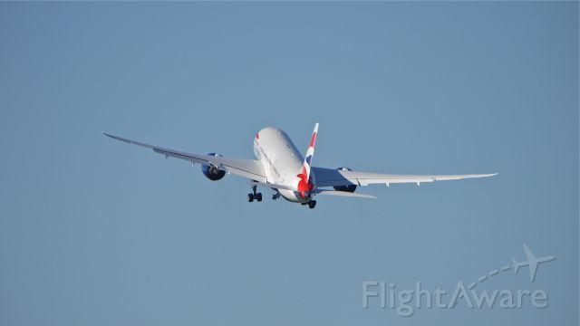 Boeing 787-8 (G-ZBJD) - BOE453 climbs from Rwy 34L beginning its maiden flight on 9.11.13. (LN:121 cn 38612).