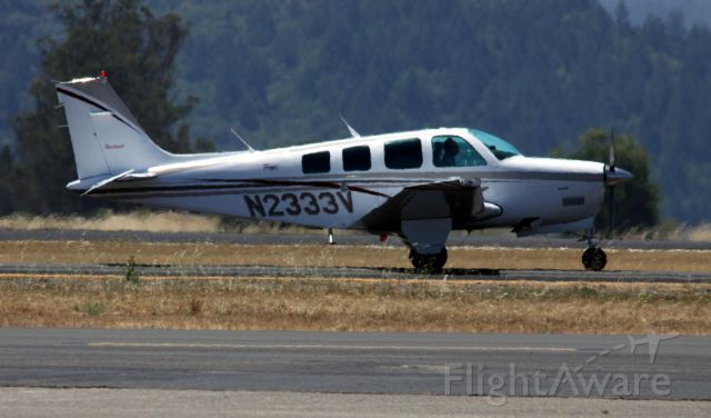 Beechcraft Bonanza (36) (N2333V) - Per FAA Recordsbr /Serial Number E-3183 br /Manufacturer Name RAYTHEON AIRCRAFT COMPANY br /Model A36br /br /Taxiing to Parking  06-22-2015