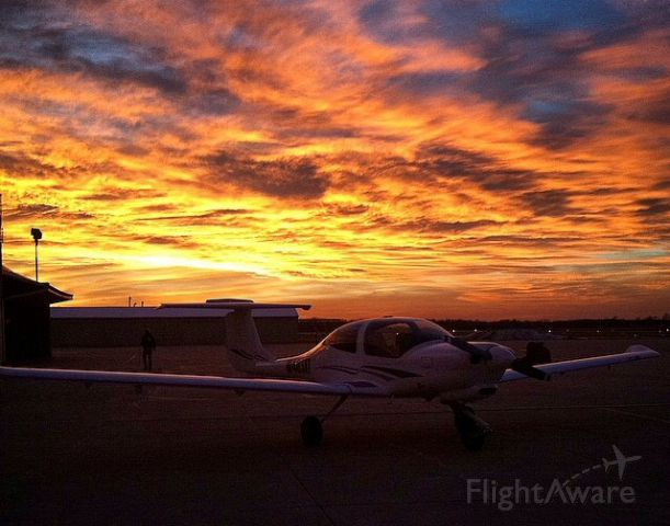 Diamond Star (N403AT) - The clouds were ignited by the sun as it set. Taken on my iPhone and un-edited besides some cropping.