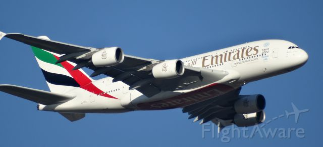Airbus A380-800 (A6-EDZ) - EK420 NOW DOWN TO 2000FT. OVER OUR PROPERTY HEADING TO YPPH.