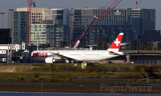BOEING 777-300ER (HB-JNI) - Welcome to back to Boston - Swiss resumes service from BOS to Zurich on 9/4/20.