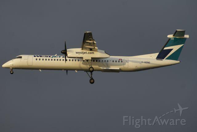 de Havilland Dash 8-400 (C-GENO) - WestJet Encore Flight WR3327 from YLW approaching YVR Runway 26L