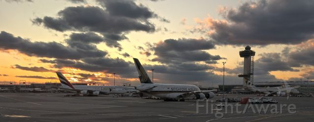 Airbus A380-800 — - Sunset of an era.  Feb 27, 2020, 3 A380s from 3 airlines (Emirates, Singapore, and Etihad).