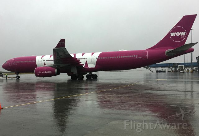 Airbus A330-300 (TF-WOW) - Pushback for LAX in heavy winds and rain.