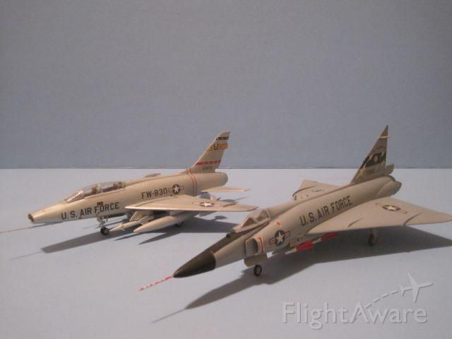 — — - Comparison shot of North American F-100F Super Sabre and Convair F-102A Delta Dagger, both in 1/72 scale.