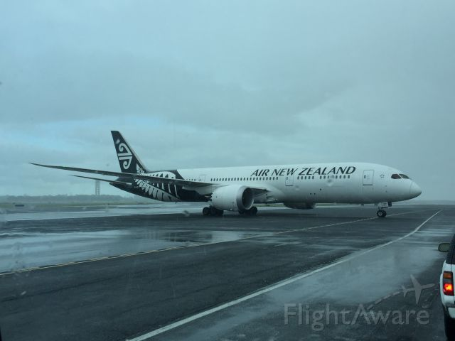 — — - Air New Zealand taxi to parking in rain at HNL.