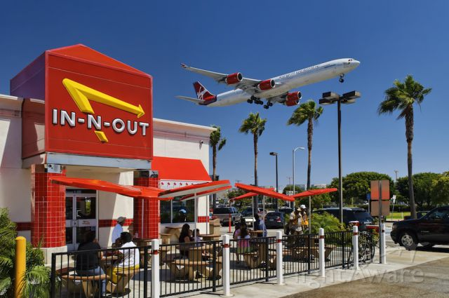 Airbus A340-600 — - In-n-Out Burger on W 92nd Street and Sepulveda, where the great planes come close – here a Virgin Atlantic Airbus A340-600 series widebody jet seconds from touch down at the Los Angeles International Airport, Westchester, Los Angeles, California