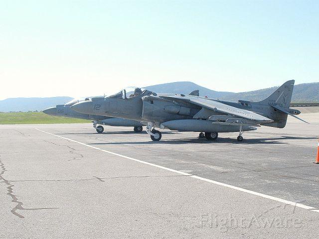— — - U.S.Marines AV-8B harrier in for a overnight stay.