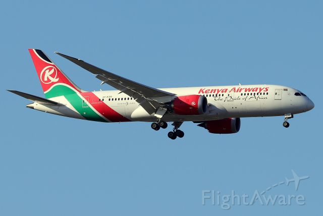 Boeing 787-8 (5Y-KZD) - 'Kenya 002' arriving from Nairobi on 31L    (4/22)