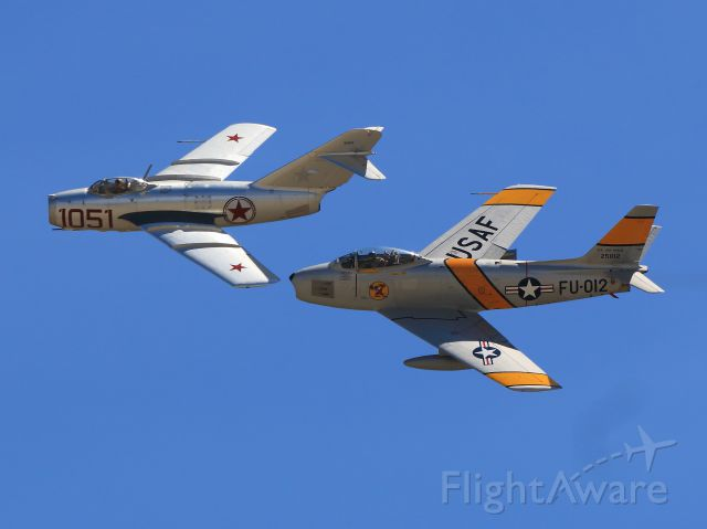 North American F-86 Sabre — - MiG-15 and F-86 (formation flight)br /Chino Planes of Fame 2014 AirShow