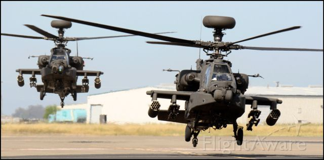 — — - Boeing AH-64E Apache Guardians arriving at the Merced Regional Airport