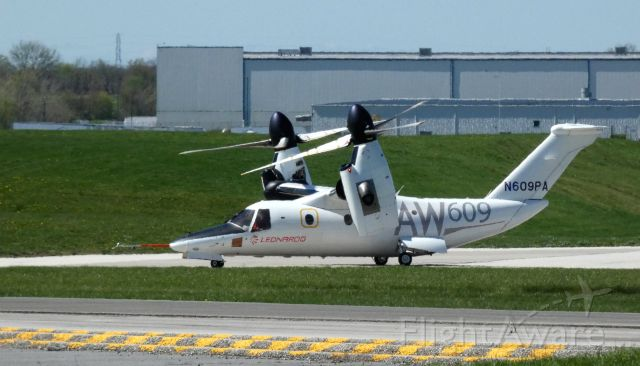 Bell BA-609 (N609PA) - Taxiing for departure from the Leonardo Helo Facility is this 2016 AgustaWestland Tiltrotor Rotorcraft AW609 in the Spring of 2021.