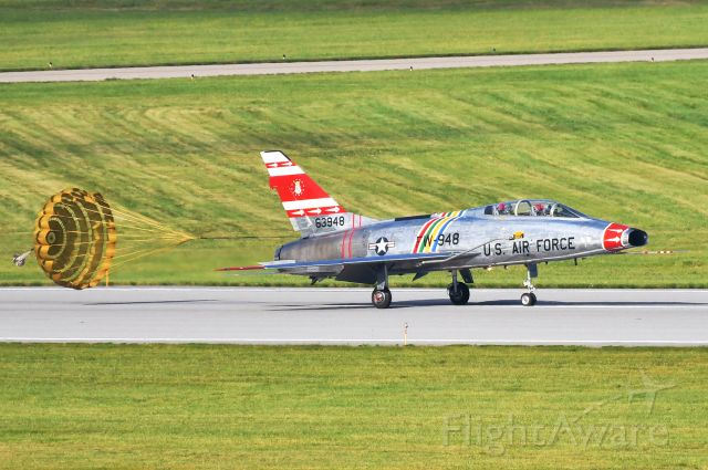 Fokker 100 (N63948) - F-100 Super Sabre arriving at Selfridge ANG Base for the 100 year anniversary open house.