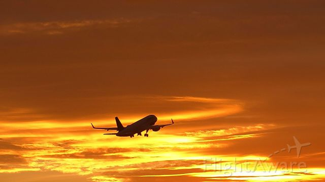 Airbus A320 — - Very vibrant sunset at Zurich, Switzerland.