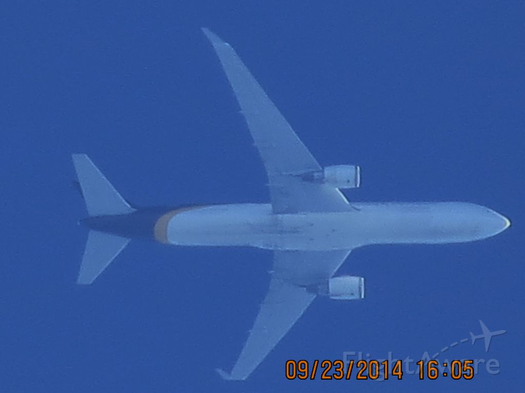 BOEING 767-300 (N314UP) - United Postal Service flight 2872 from Louisville to Albuquerque over Baxter Springs Kansas (78KS) at 36,000 feet.