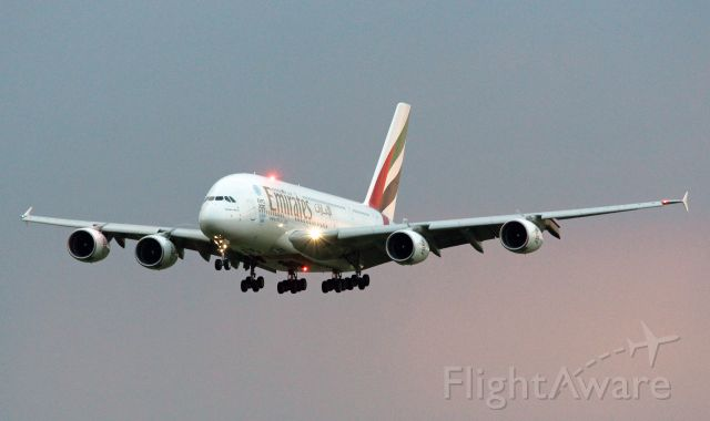 Airbus A380-800 (A6-EES) - First commercial landing of an A380 in Vienna due to 10 year jubilee Vienna - Dubai.